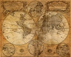 Share this page with others and get off! Vintage World Map Canvas Print Old World Maps, Old Maps, Vintage Maps, Antique Maps, Antique World Map, Vintage Prints, Deco Pirate, Karten Tattoos, Moby Dick