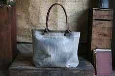 1950's era Ticking Fabric Carryall, salvaged from a laundry bag, Forestbound