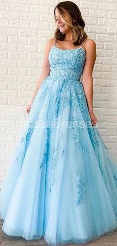 Blue A-line Prom Dresses #prom #promdresses #promdresseslong #promdressescheap #Dressesformal #fancydresses #promdresses2020 #eveningdresses #prom2020 #partydreses Straps Prom Dresses, Plus Size Prom Dresses, A Line Prom Dresses, Grad Dresses, Tulle Prom Dress, Prom Party Dresses, Cheap Prom Dresses, Tulle Lace, Dance Dresses