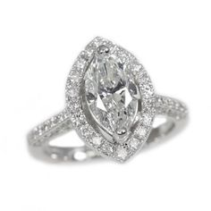 14K White Gold 1.74Ct Marquise Cut Diamond Right Hand Ring Call for Price