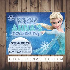 Frozen Princess inspired Birthday Party invite (custom made invitation for any age!) PRINTABLE digital file diy - Elsa and Anna