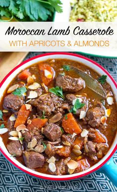 Moroccan Lamb Casserole With Apricots & Almonds (Slow Cooker Recipe With Stove & Instant Pot Times) | #paleo #paleorecipes #lamb #lambrecipes #moroccan #realfood #jerf #slowcooker #stews #casseroles