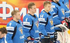 Mikael #Granlund and Mikko Koivu stand for the National Anthem during a World Championship game.
