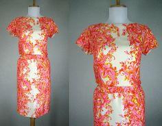 VINTAGE 1960s PINK ORANGE YELLOW WHITE FLORAL SILK IMAGNIN DRESS S M #IMAGNIN