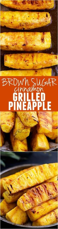 How to grill pineapple with brown sugar and cinnamon. This Brown Sugar Cinnamon Grilled Pineapple will be the BEST side that you will ever grill! It caramelizes on top of this juicy pineapple and will blow your mind! Grilling Recipes, Cooking Recipes, Healthy Grilling, Vegetarian Grilling, Barbecue Recipes, Smoker Recipes, Barbecue Sauce, Healthy Cooking, Grilling Ideas