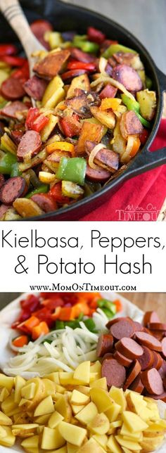 This Kielbasa, Peppers, and Potato Hash is a delicious and easy dinner recipe that takes just 20 minutes and one skillet! Full of fresh veggies and turkey kielbasa makes this dinner both nutritious and filling! | MomOnTImeout.com