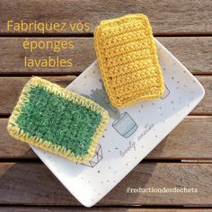 Tutorial Crochet 70250 Double-sided rectangular sponge washable at 60 ° C and reusable - Cotcotcrochète, etc. Crochet Diy, Crochet Home, Crochet Granny, Tutorial Crochet, Double Crochet, Creative Bubble, Geek Home Decor, Knitting Patterns, Crochet Patterns