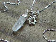 Star of David necklace, Judaica jewelry, star of David and crystal necklace, wire wrapped star of david necklace - $34.00