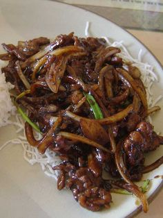 Recipe for Mongolian Beef - When we have Chinese, this is my go-to. Savory, beefy, and it has a kick too!