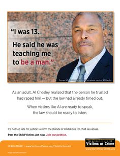 Al Chesley, NFL player and survivor of child sexual abuse, awareness poster for the Child Victims Act campaign