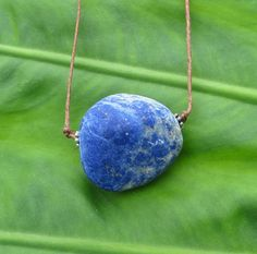 Rustic Lapis Gem Stone Necklace by The Wild by TheWildWillo Geode Jewelry, Gemstone Necklace, Chunky Jewelry, Vintage Jewelry, Unique Jewelry, Natural Colors, Etsy Crafts, Gem Stones, My Precious