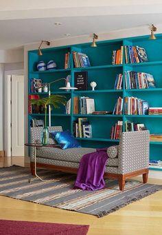 Deep turquoise shelves