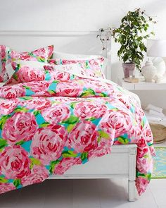 Lilly Pulitzer® Sister Florals Duvet & Sham in First Impression Hotty Pink.