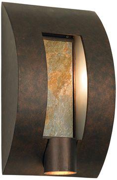 Franklin Iron Works Framed Slate Bronze 16-Inch-H Wall Light - Euro Style Lighting