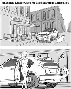 Storyboards: Mitsubishi Eclipse Cross Lifestyle Commercial Spot by storyboard artist Cuong Huynh for Hansen Productions Inc. Storyboard Film, Storyboard Drawing, Animation Storyboard, Storyboard Artist, Comic Drawing, Mitsubishi Eclipse, Car Animation, Thumbnail Sketches, City Drawing