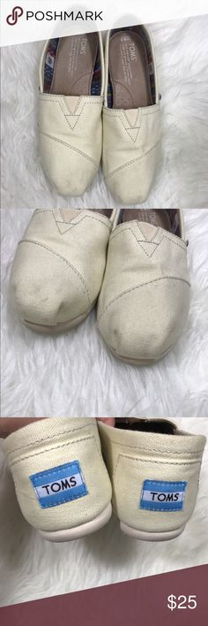 TOMS white canvas flats 6.5 White/cream color TOMS. Women's US size 6.5. Like new other than some small marks near the toes as shown in pictures. TOMS Shoes Flats & Loafers