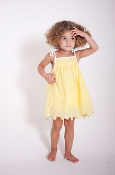 Toddler Girl's Dress for summer - gathers, contrasting ties, trim and rosette; embroidered scallops at hem