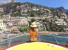 Erica Pelosini on Gianni's boats in Positano