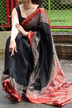 Handblock Printed Chanderi Silk Saree by Dvija Latest Silk Sarees, Indian Silk Sarees, Indian Beauty Saree, Kerala Saree, Cotton Saree Designs, Silk Saree Blouse Designs, Cotton Saree Blouse, Silk Cotton Sarees, Cotton Sarees Online