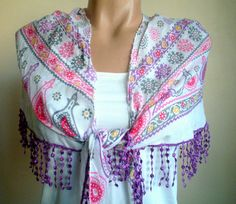 Cotton Yemeni Scarf Purple Pink Flowered Frilly by fizzaccessory, $20.00