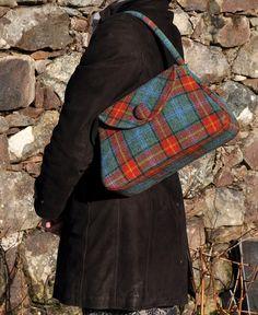 Large Harris Bag Turquoise Check Harris Tweed