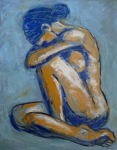 Blue Soul - female Nude A figurative expressionist painting, simplified style, a modern representation of a female nude sitting down in a distressed mood. (How I feel) Figure Painting, Figure Drawing, Painting & Drawing, Love Painting, Acrylic Painting Canvas, Canvas Art, Acrylic Painting Inspiration, Acrylic Art, Figurative Art