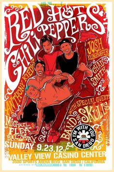 """RED HOT CHILI PEPPERS 2012 Concert Poster San Diego California $8.00 • 100% Mint unused condition • Well discounted price + we combine shipping • Click on image for awesome view • Poster is 12"""" x 18"""" • Semi-Gloss Finish • Great Music Collectible - superb copy of original • Usually ships within 72 hours or less with tracking. • Satisfaction guaranteed or your money back.Go to: Sportsworldwest.com"""