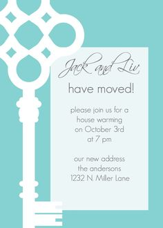 love the bold graphic! JackandLiv- Custom Key Moving Annoucement or Housewarming Invitation - PRINTABLE INVITATION DESIGN. , via Etsy.