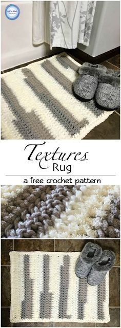 Use this free crochet pattern to make this modern, textured rug using only one skein of Bernat Home Bundle and double crochet stitches.  This pattern is fast, simple and beginner friendly!  @yarnspirations