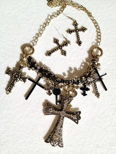 'Boho Mega Crosses and Keys Necklace' is going up for auction at  3am Sat, Feb 23 with a starting bid of $12.