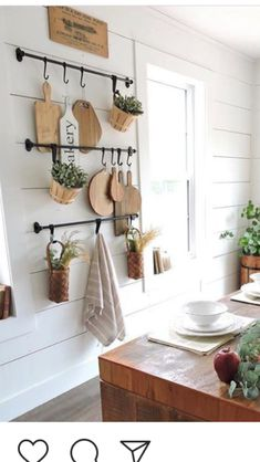 I like the bars for hanging things like utensils, chopping boards, mugs, fry pan. Farm Kitchen Ideas, Farmhouse Kitchen Decor, Kitchen Redo, Home Decor Kitchen, Country Kitchen, New Kitchen, Home Kitchens, Kitchen Remodel, Lobby Design