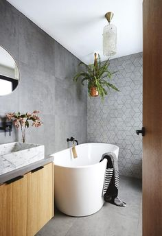20 contemporary bathroom design ideas, Looking to update a tired bathroom? Creating a contemporary bathroom is not just about using on-trend tiles, finishes and fixtures, but is about seaml. Contemporary Bathroom Designs, Contemporary Bathrooms, Contemporary Design, Contemporary Bathroom Inspiration, Contemporary Furniture, Bathroom Renos, Bathroom Renovations, Bathroom Ideas, Bathroom Faucets