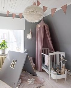 What a pretty little girl's room! Vita Eos light shade, Rosaline doll bed are al available at www.istome.co.uk
