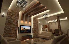 living room decorating ideas \ stone wall and lightning from wood