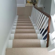 Beige Wool Carpet to Stairs Installed by us