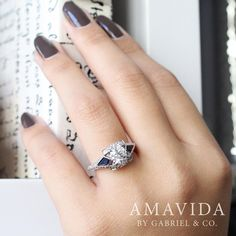 Pinch yourself, you're not dreaming. Discover this diamond and sapphire Amavida® engagement ring by clicking the link in our bio. . . . . #GabrielNY #GabrielAndCo #NewYorkCity #EngagementRing #Bridal #NewYork #NYC #LoveYou #Tulips #BrideToBe #BridetoBride #Diamonds #Love #Ring #TrueLove #MustHave #DreamWedding #WeddingInspiration #Glamour #Heart #love #anniversary #design #jewelry #whitegold #diamond Style #: ER12124