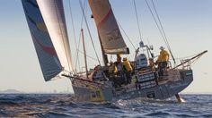 28th February 2015. New Zealand, Auckland, Volvo Ocean Race. Abu Dhabi Ocean Racing arrives into Auckland second on Leg 5. © Ian Roman / Abu Dhabi Ocean Racing