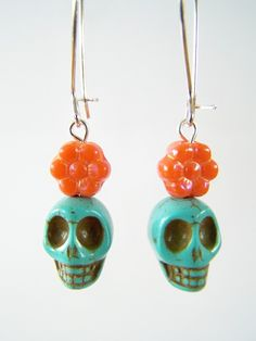 Day of the Dead Earrings, Dia de Los Muertos Earring with Turquoise Skulls and Orange Czech Glass Flower Beads by polishedtwo on Etsy, $9.50