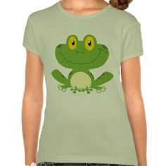 Cute Green Frog Lime Girls' Fitted Bella Babydoll Shirt