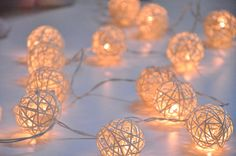 Items similar to Handmade White Rattan ball string lights for Patio,Wedding,Party and Decoration bulbs) on Etsy Patio Lighting, Unique Lighting, Rose Gold Rooms, Patio Wedding, Cotton Ball Lights, White String Lights, Party Lights, Light Turquoise, Table Centerpieces