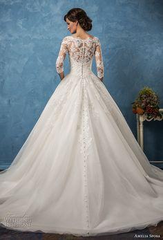 amelia sposa 2017 bridal three quarter sleeves illusion bateau semi sweetheart heavily embellished bodice romantic princess ball gown a  line wedding dress (enrica) bv