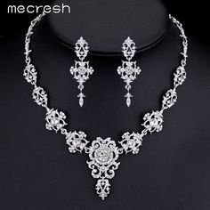 Mecresh Gorgeous Silver Plated Wedding Jewelry Sets for Brides Crystal Cross Earrings Necklace Jewelry Sets for Women MTL432