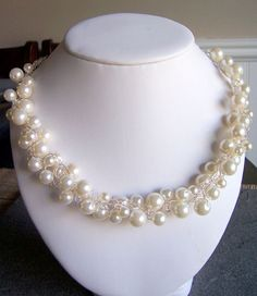 Pearl wire crochet wedding necklace bridal jewelry by starrydreams, $60.00