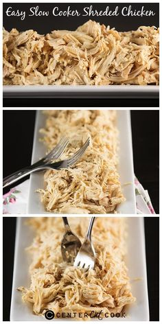 Easy Slow Cooker Shredded Chicken for all of your favorite recipes that call for pre-cooked chicken. Use fresh or frozen chicken! #chicken #slowcooker
