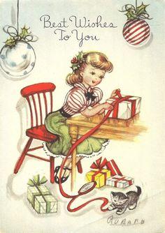 Wrapping presents vintage cutie