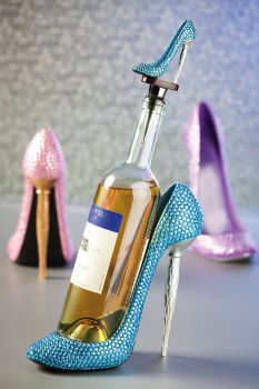 Rhinestone Collection: Teal, Pink, Purple assortments of shoe bottle holders with matching shoe bottle stoppers. $37.00 USD
