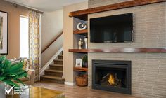 The Napoleon Ascent gas fireplace can be designed to your personal taste and match any home décor. Direct Vent Gas Fireplace, Vented Gas Fireplace, Linear Fireplace, Fireplace Built Ins, Home Fireplace, Gas Fireplaces, Shiplap Fireplace, Fireplace Ideas, Off Center Fireplace