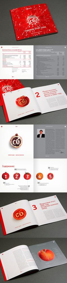 SB Bank annual report from 2006. I love the bold colors and the use of white space throughout the pages. Source: www.sbank.ru