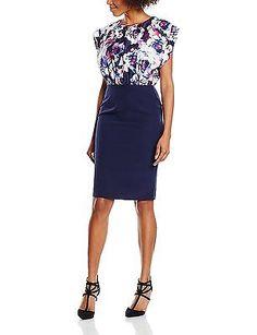 16, Multicoloured (Navy Multi), Paper Dolls Women's Multi Print Sleeveless Dress