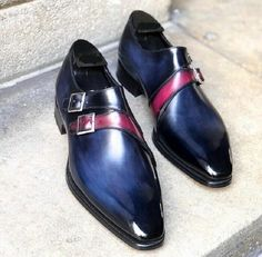 Men's Handmade Blue Double Monk Leather Shoes, Men Dress Buckle Shoes sold by Shop more products from on Storenvy, the home of independent small businesses all over the world. Double Monk Strap Shoes, Cowboy Shoes, Black Leather Flats, Men's Leather, Gentleman Shoes, High Ankle Boots, Mens Designer Shoes, Only Shoes, Formal Shoes